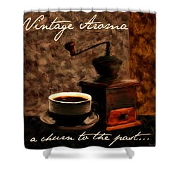 Vintage Aroma Shower Curtain by Lourry Legarde