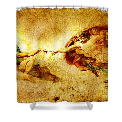 Vintage Art - The Creation Of Adam Shower Curtain by Stefano Senise