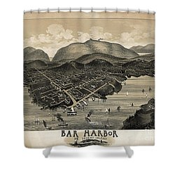 Vintage Bar Harbor Map Shower Curtain