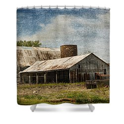 Barn -vintage Barn With Brick Silo - Luther Fine Art Shower Curtain