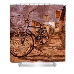 Vintage Beach Bike Shower Curtain by Debra and Dave Vanderlaan