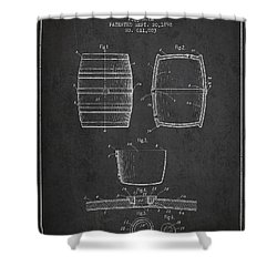 Vintage Beer Keg Patent Drawing From 1898 - Dark Shower Curtain