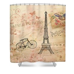 Vintage Bicycle And Eiffel Tower Shower Curtain by Peggy Collins