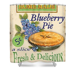 Vintage Blueberry Pie Sign Shower Curtain by Jean Plout