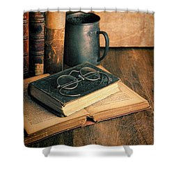 Vintage Books And Eyeglasses Shower Curtain by Jill Battaglia