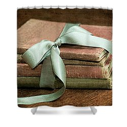 Vintage Books Tied With Mint Ribbon Shower Curtain by Tracie Kaska