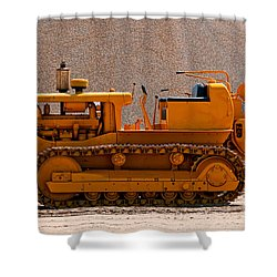 Vintage Bulldozer Shower Curtain by Les Palenik
