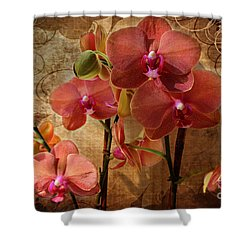Vintage Burnt Orange Orchids Shower Curtain