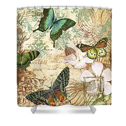 Vintage Butterfly Kisses  Shower Curtain by Jean Plout