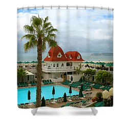 Vintage Cabana At The Del Shower Curtain by Connie Fox