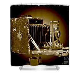 Vintage Camera In Sepia Tones Shower Curtain