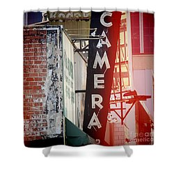 Vintage Camera Sign Shower Curtain by Nina Prommer