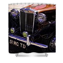 Vintage Car Art 51 Mg Td Copper Shower Curtain by Lesa Fine
