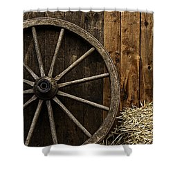 Vintage Carriage Wheel Shower Curtain