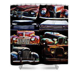 Vintage Cars Collage 2 Shower Curtain by Cathy Anderson