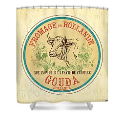 Vintage Cheese Label 1 Shower Curtain