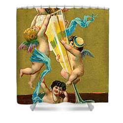 Vintage Cherubs Drinking Champagne Shower Curtain