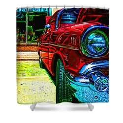 Vintage Chevy Car Art Alley Cat Red Shower Curtain