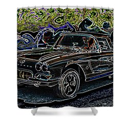 Shower Curtain featuring the digital art Vintage Chevy Corvette Black Neon Automotive Artwork by Lesa Fine