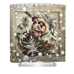 Vintage Christmas Shower Curtain by Mo T