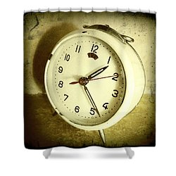 Vintage Clock Shower Curtain by Les Cunliffe