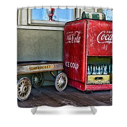 Vintage Coca-cola And Rocket Wagon Shower Curtain by Paul Ward