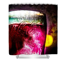 Vintage Coca Cola Glass With Ice Shower Curtain by Bob Orsillo