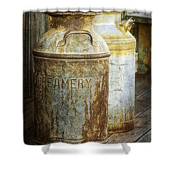 Vintage Creamery Cans In 1880 Town In South Dakota Shower Curtain by Randall Nyhof