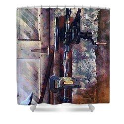 Vintage Drill Press Shower Curtain by Susan Savad