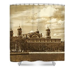 Shower Curtain featuring the photograph Vintage Ellis Island by Eleanor Abramson