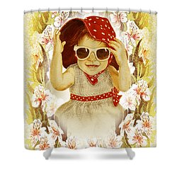 Shower Curtain featuring the painting Vintage Fashion Girl by Irina Sztukowski