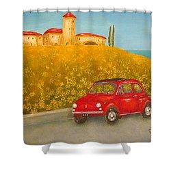 Vintage Fiat 500 Shower Curtain by Pamela Allegretto