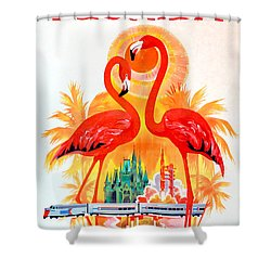 Vintage Florida Amtrak Travel Poster Shower Curtain