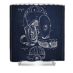 Vintage Football Helment Patent Drawing From 1927 Shower Curtain by Aged Pixel