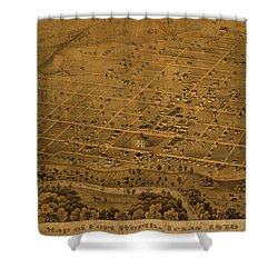 Vintage Fort Worth Texas In 1876 City Map On Worn Canvas Shower Curtain by Design Turnpike