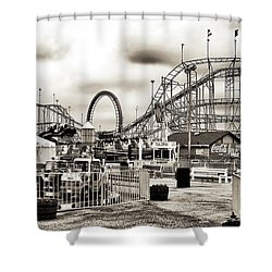 Vintage Funtown Shower Curtain by John Rizzuto
