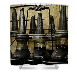 Shower Curtain featuring the photograph Vintage Glass  Motor Oil Bottles by Wilma  Birdwell