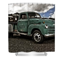 Vintage Green Chevrolet Truck Shower Curtain by Gianfranco Weiss