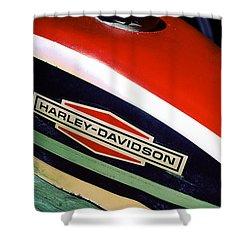 Vintage Harley Davidson Gas Tank Shower Curtain by Beverly Stapleton