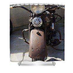 Vintage Harley Shower Curtain by Nick Kirby