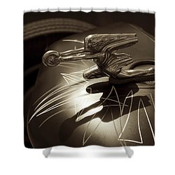 Vintage Hood Ornament - Sepia Art Decoprint Shower Curtain