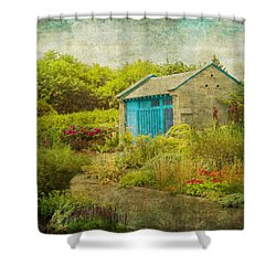 Vintage Inspired Garden Shed With Blue Door Shower Curtain by Brooke T Ryan