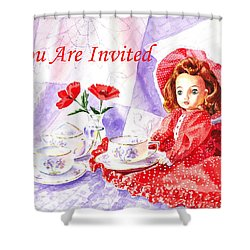 Vintage Invitation Shower Curtain by Irina Sztukowski