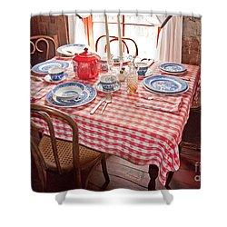 Vintage Kitchen Table Art Prints Shower Curtain