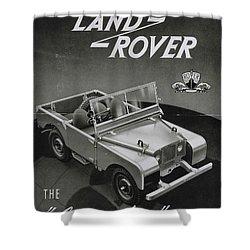 Vintage Land Rover Advert Shower Curtain