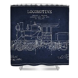 Vintage Locomotive Patent From 1892 Shower Curtain