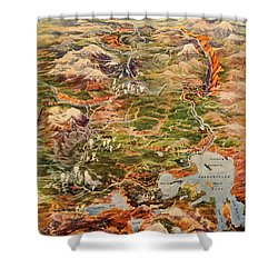 Vintage Map Of Yellowstone National Park Shower Curtain by Edward Fielding