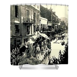 Shower Curtain featuring the photograph New Orleans Vintage Mardi Gras In The French Quarter Of  Louisiana  1960 by Michael Hoard