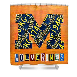 Vintage Michigan License Plate Art Shower Curtain by Design Turnpike