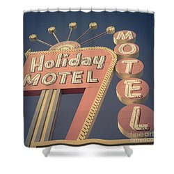 Vintage Motel Sign Square Shower Curtain by Edward Fielding